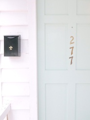 "After weeks of staring at paint samples, Mary Margaret chose XXXX for the front door. ""I realized that paint is so easy to change. We love it for now, and if we change our minds one day, it's such a simple fix."""